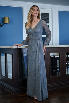 Jade Metallic Lace Long Sleeve MOB Dress - Product List Image