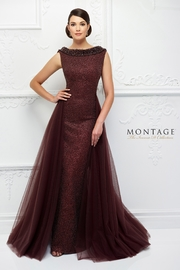 Ivonne D Metallic Lace Overskirt Gown, Jasper Red - Front cropped