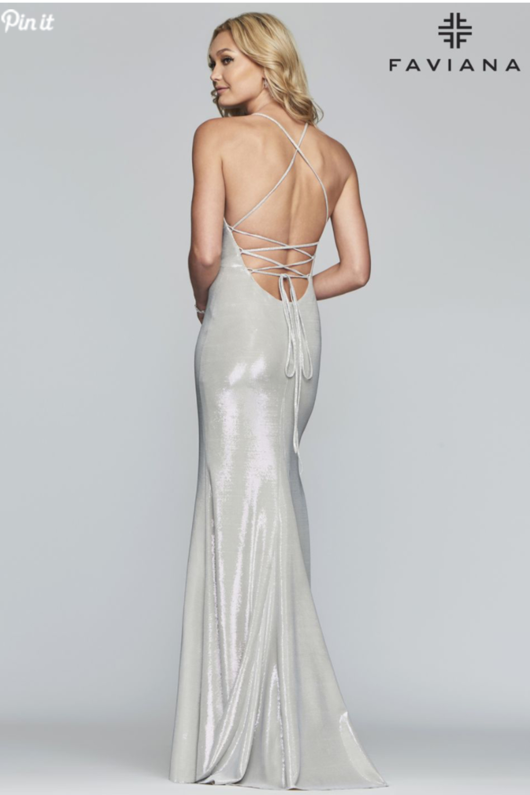 Faviana Metallic Lace Up Gown - Front Full Image