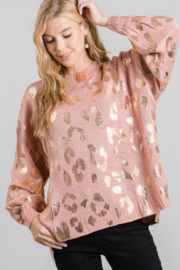 Jodifl Metallic Leopard Print Oversized Pullover Sweater - Front cropped