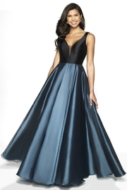 Flair New York Metallic Midnight Teal & Black Formal Ballgown - Product Mini Image