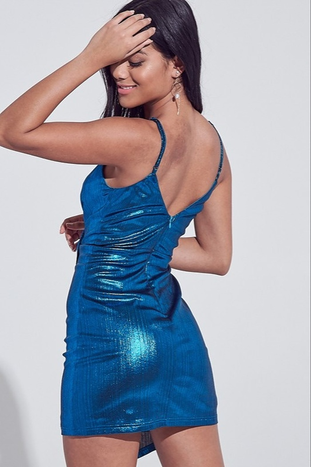 blue blush Metallic Mini Dress - Front Full Image