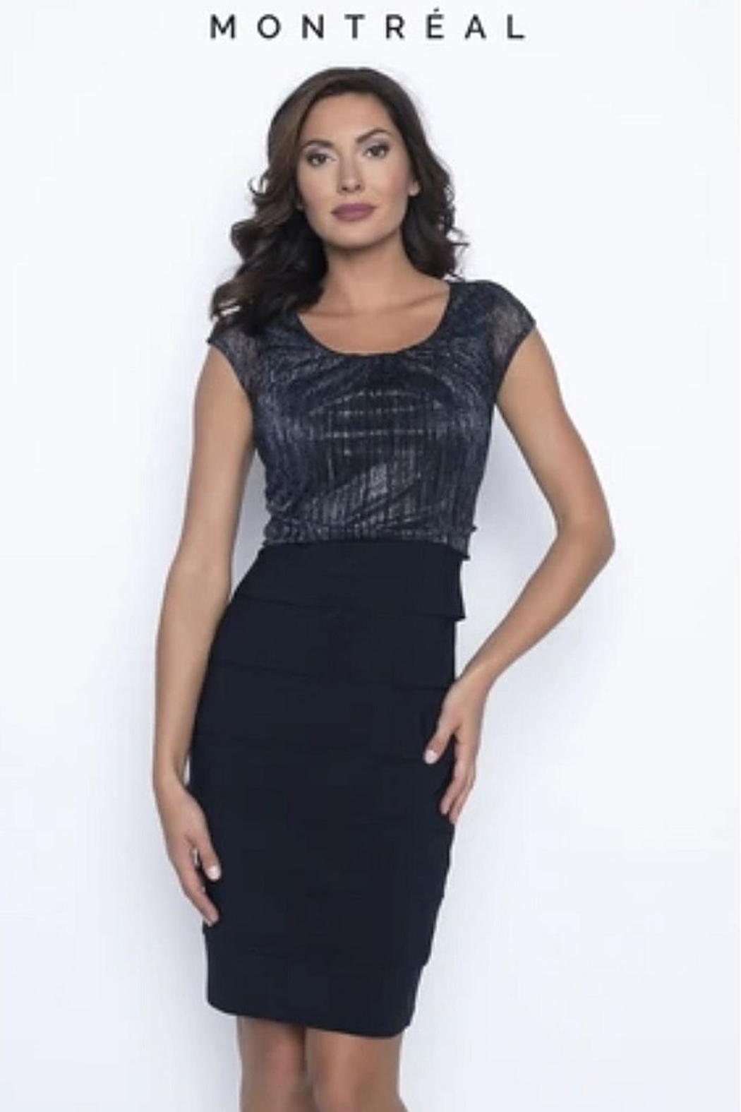 Frank Lyman Metallic Navy Cap Sleeve Dress - Front Cropped Image