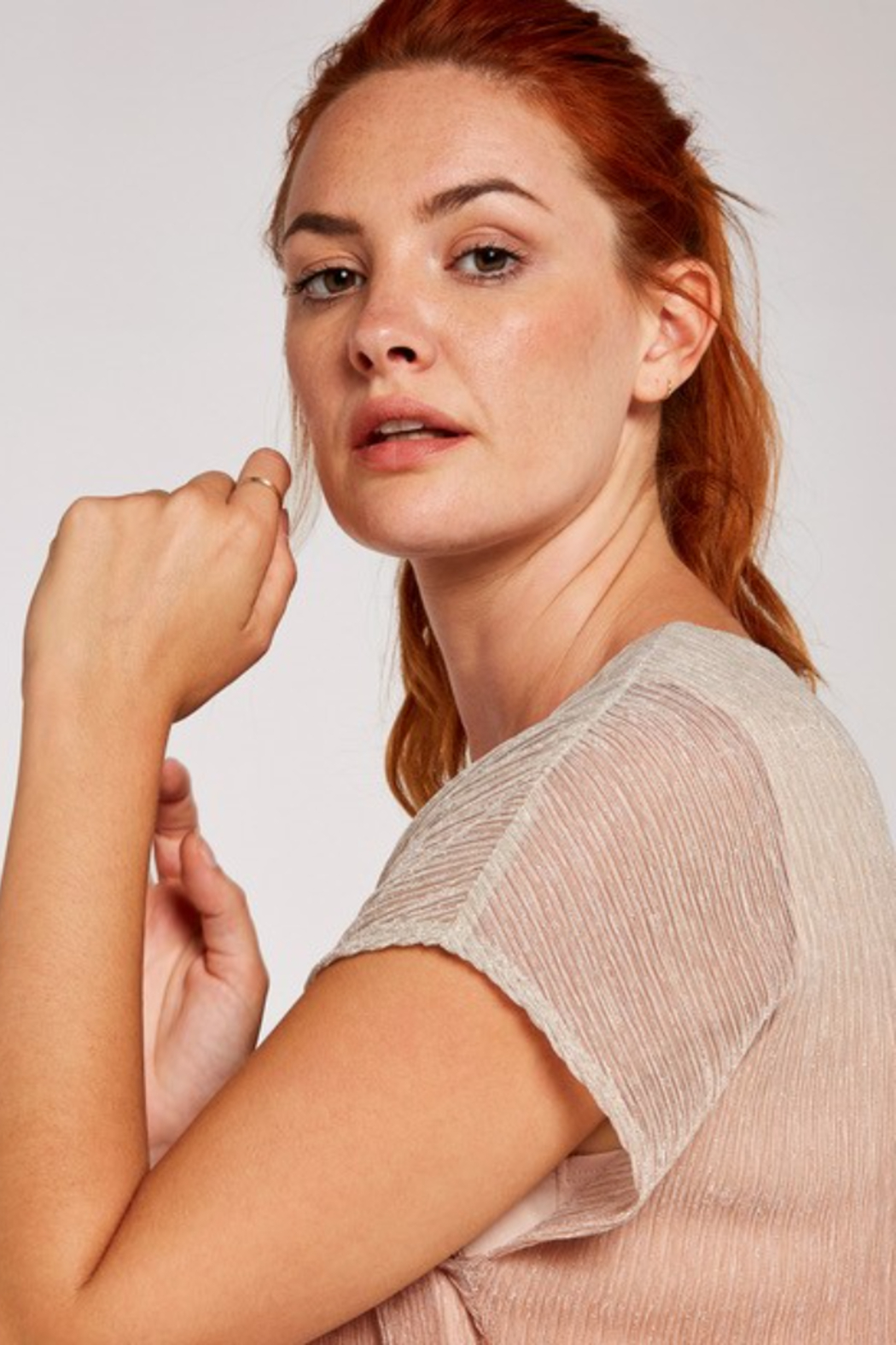 Apricot Metallic Ombre Plisse Top - Front Full Image