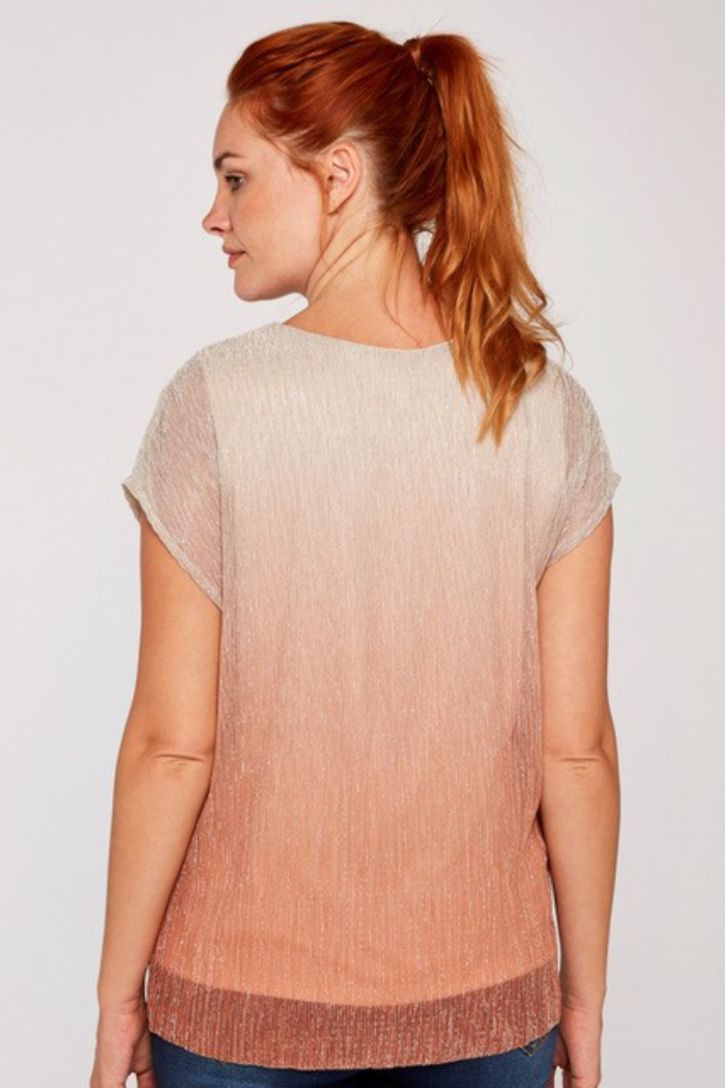 Apricot Metallic Ombre Plisse Top - Side Cropped Image