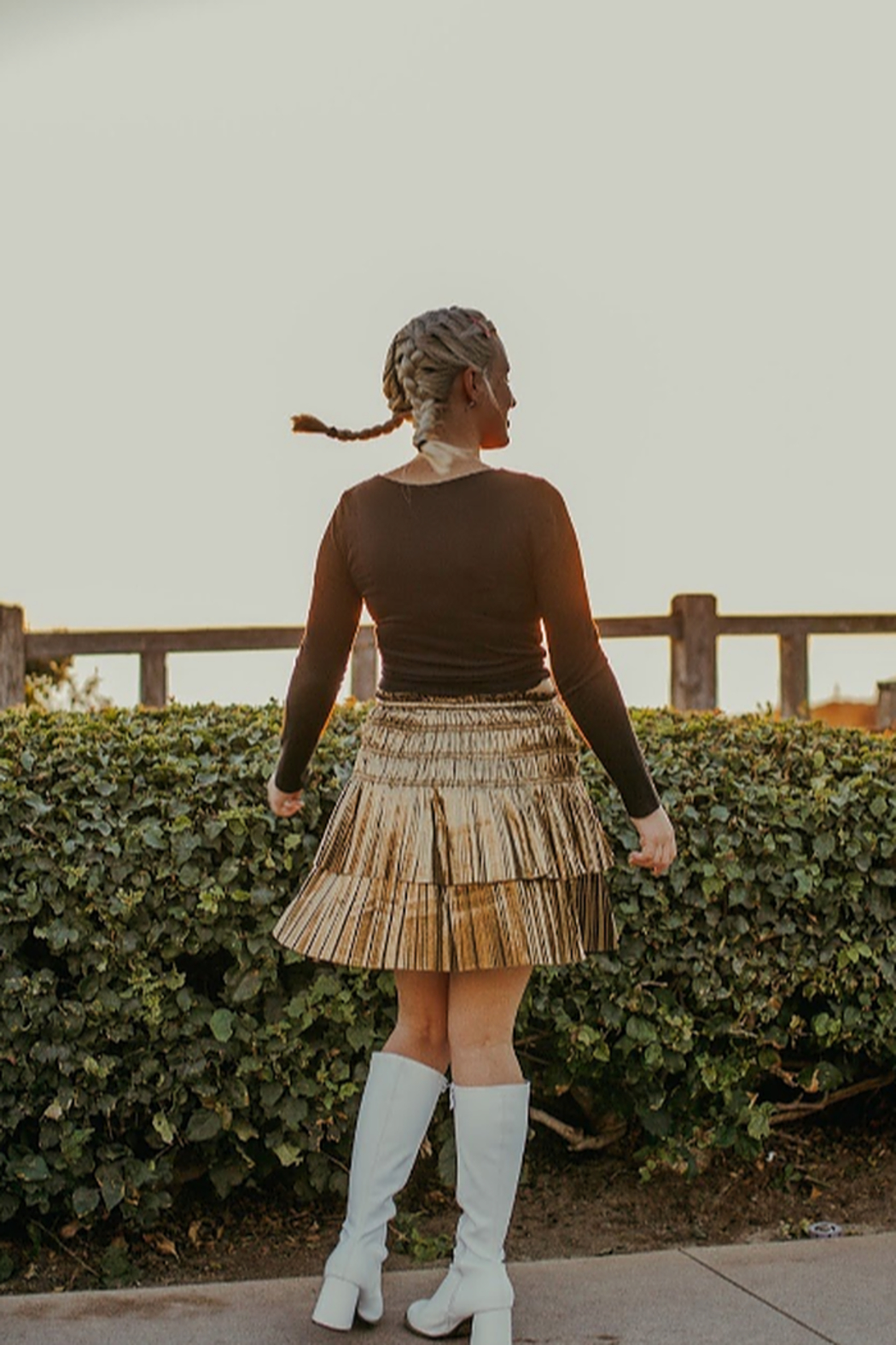 Current Air Metallic Pleated Dancing Skirt - Front Full Image