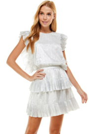 TCEC Metallic Pleated Dress - Front cropped