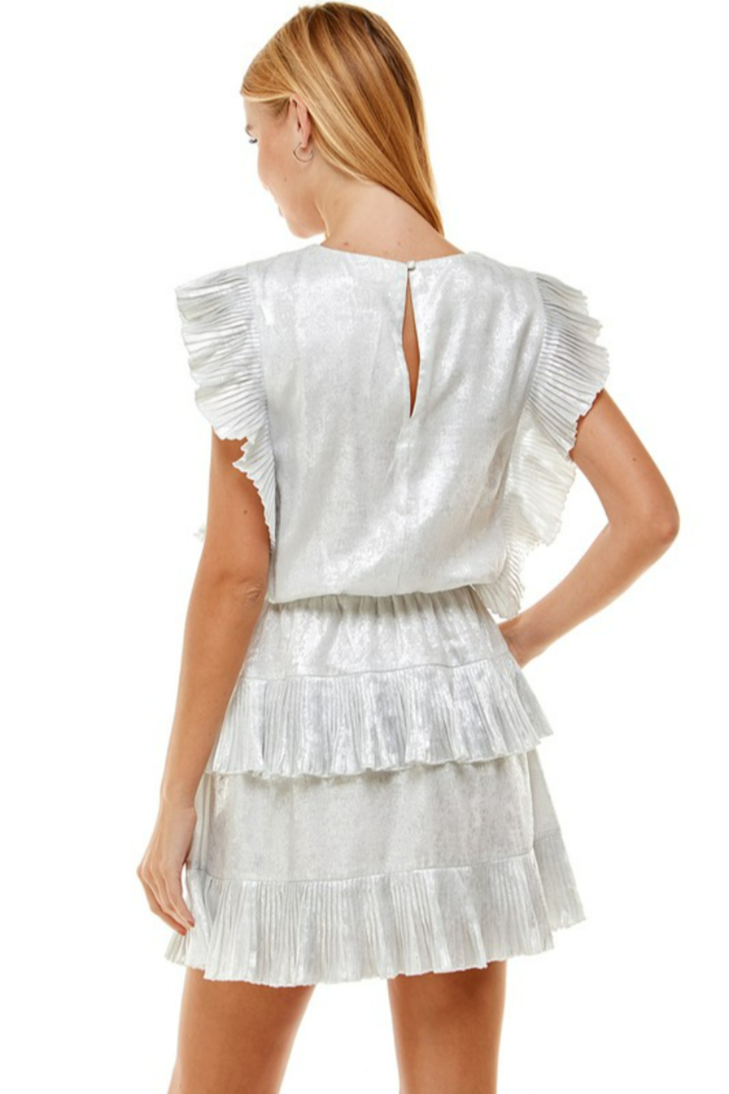 TCEC Metallic Pleated Dress - Side Cropped Image