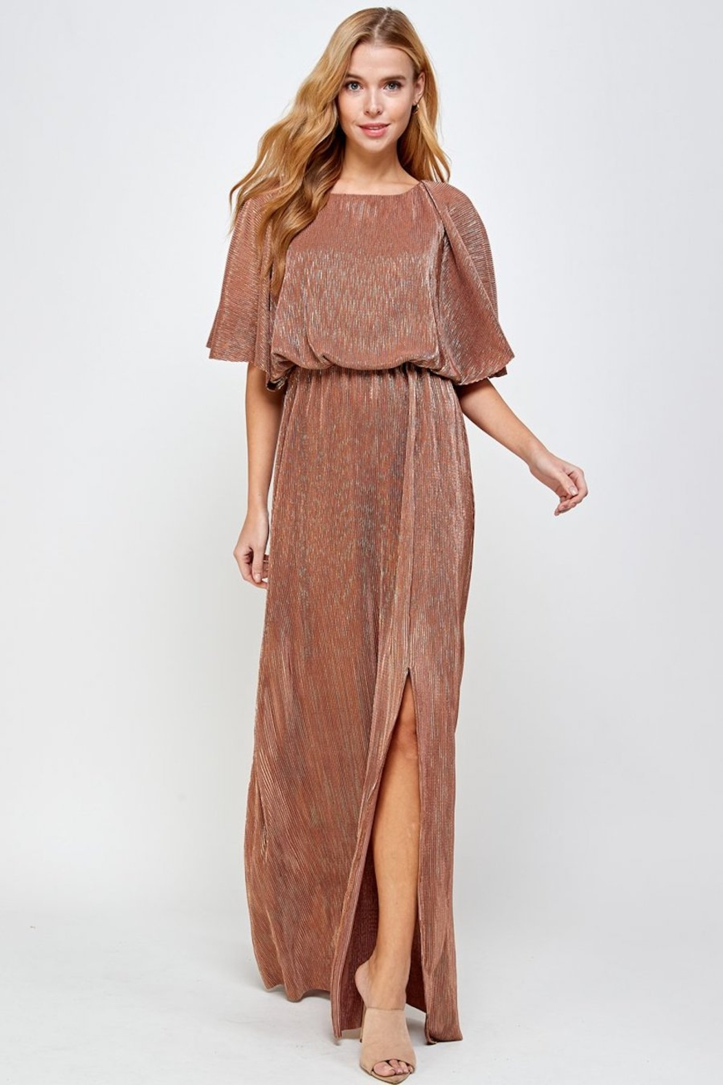 See and Be Seen Metallic Pleated Maxi Dress - Main Image