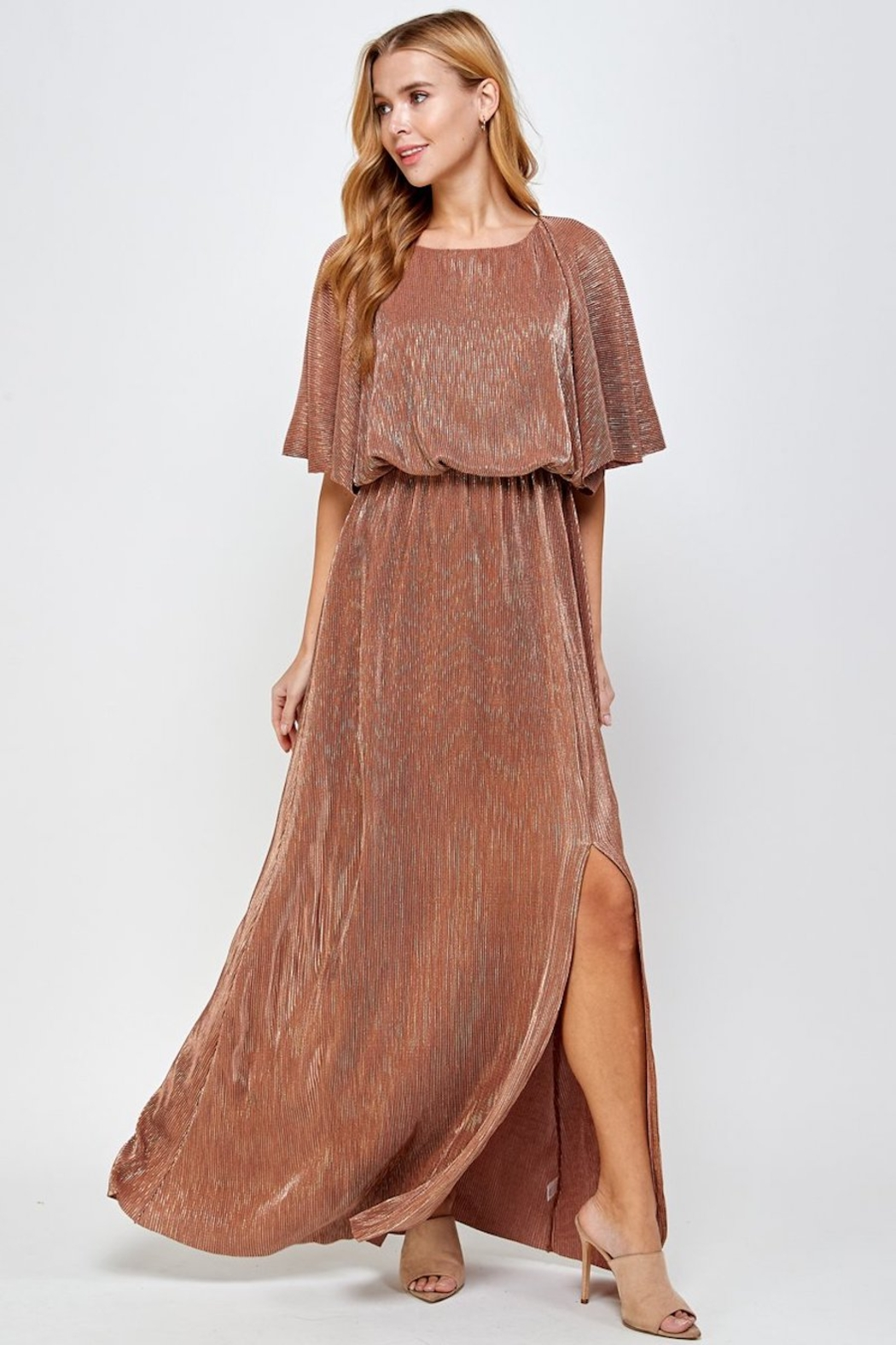 See and Be Seen Metallic Pleated Maxi Dress - Front Full Image