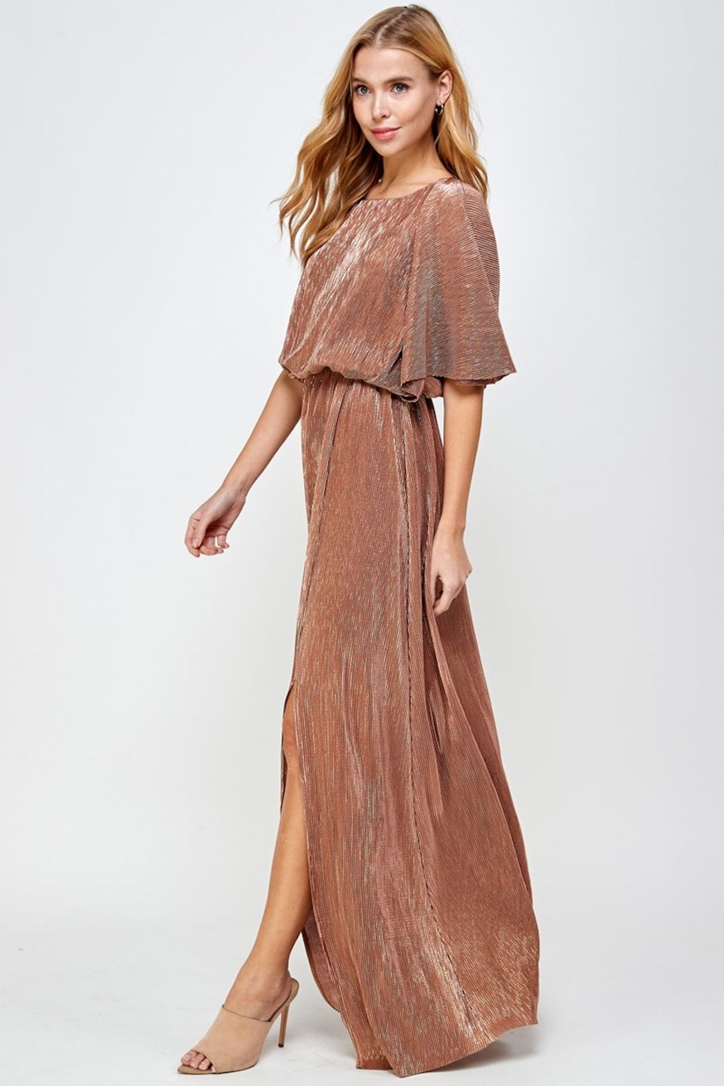 See and Be Seen Metallic Pleated Maxi Dress - Back Cropped Image