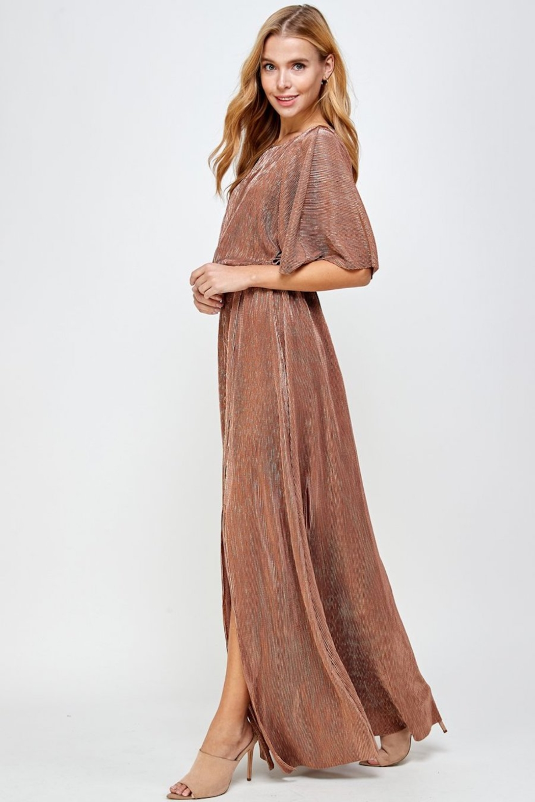 See and Be Seen Metallic Pleated Maxi Dress - Side Cropped Image