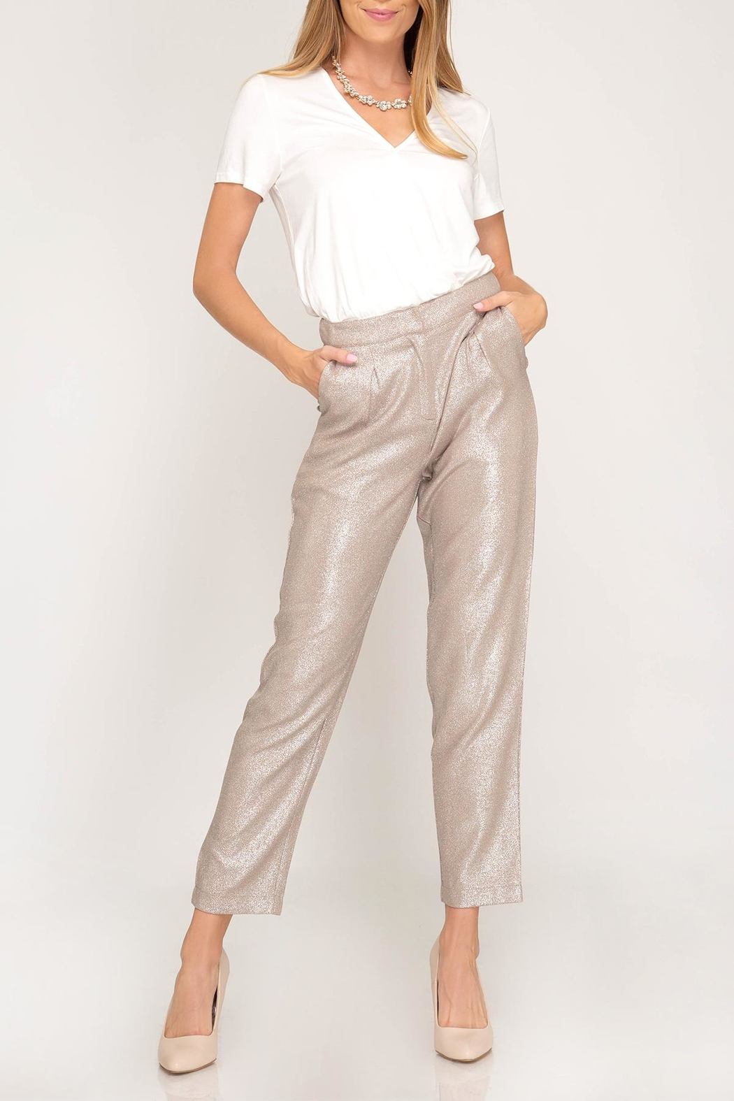 c94209604488b6 She + Sky Metallic Pleated Pants from Mississippi by Angie s ...