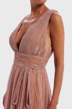 Forever Unique Metallic Pleated. Plunge Gown - Alternate List Image