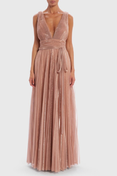 Forever Unique Metallic Pleated. Plunge Gown - Product List Image