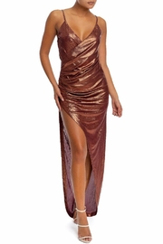 luxxel Metallic Pleated Wrap-Dress - Product Mini Image