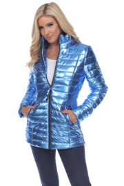 White Mark  Metallic Puffer Coat - Front cropped