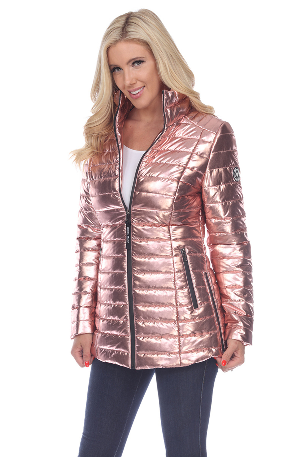 White Mark  Metallic Puffer Coat - Front Cropped Image