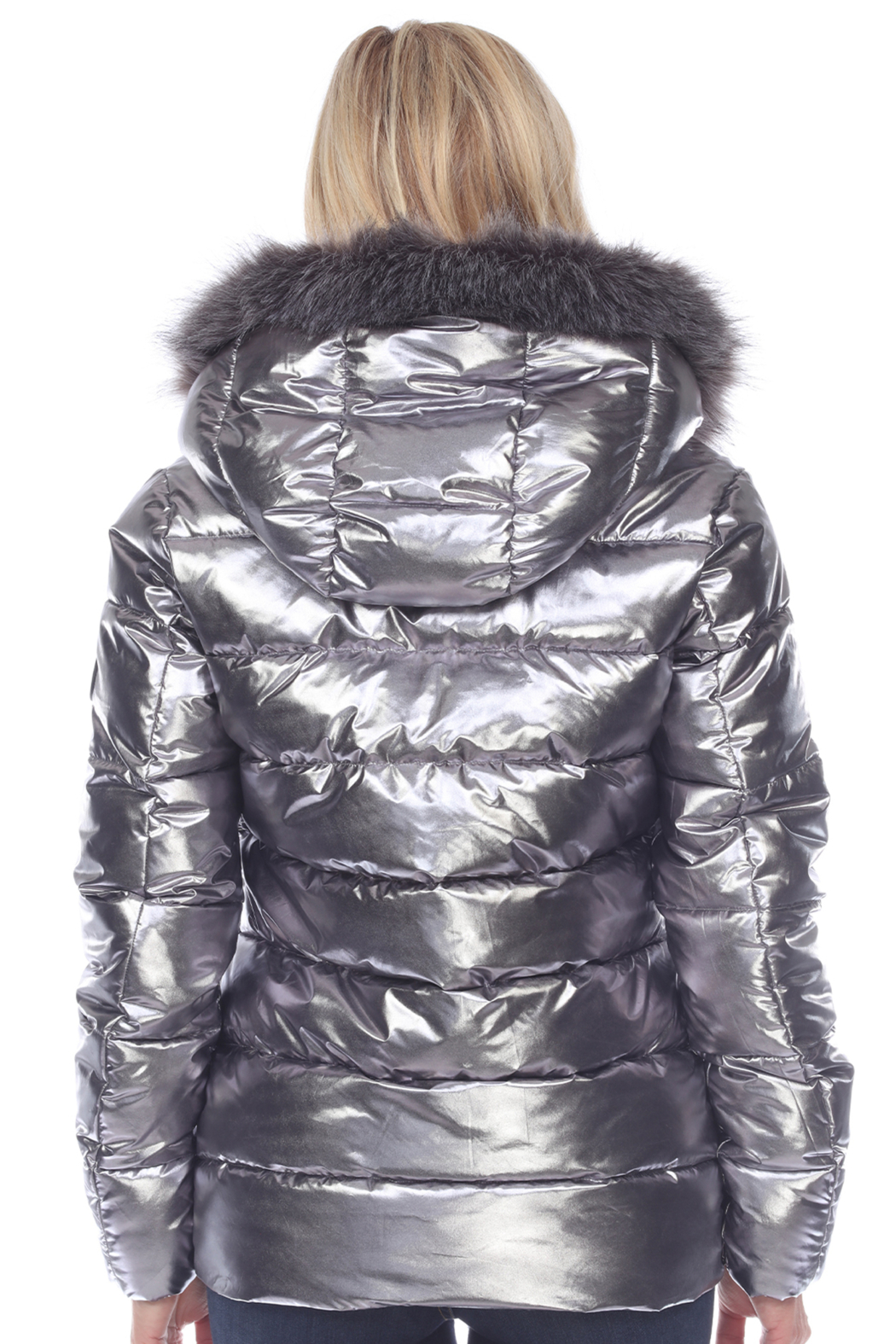 White Mark  Metallic Puffer Coat with Hoodie - Side Cropped Image