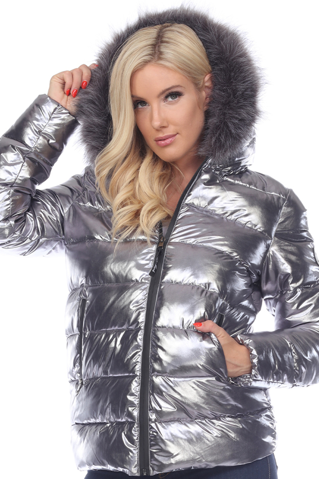 White Mark  Metallic Puffer Coat with Hoodie - Front Cropped Image