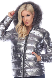 White Mark  Metallic Puffer Coat with Hoodie - Front cropped