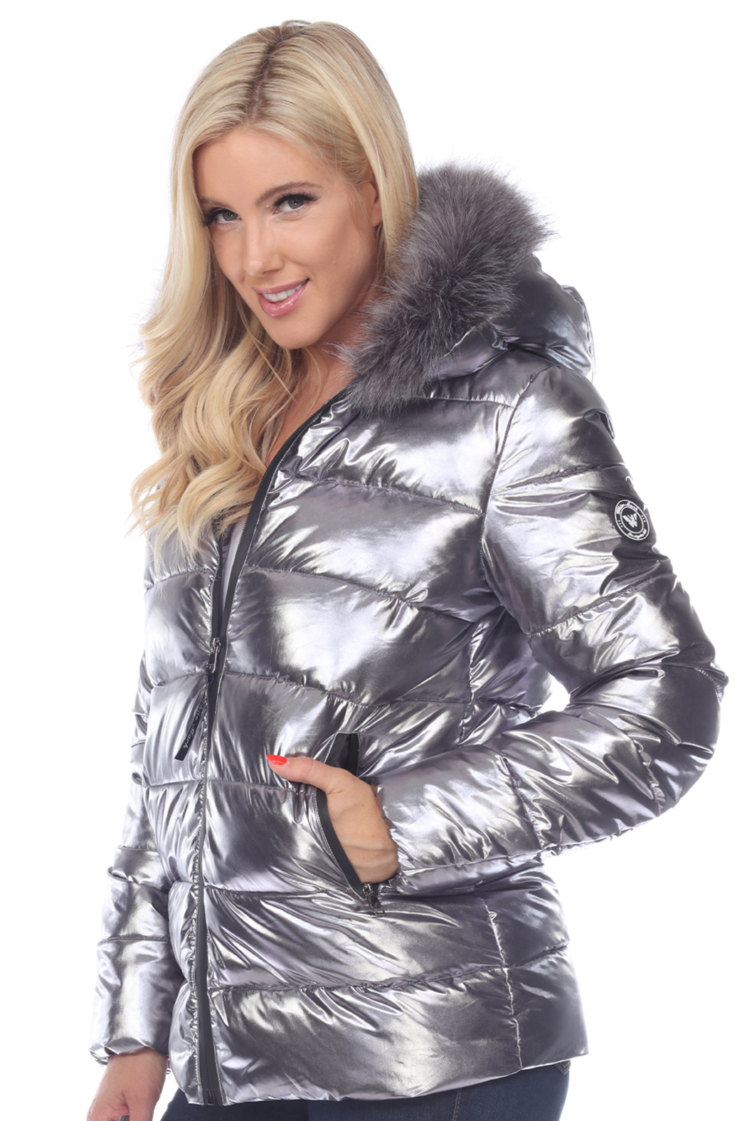 White Mark  Metallic Puffer Coat with Hoodie - Front Full Image