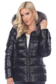 White Mark  Metallic Puffer Coat with Hoodie - Front full body
