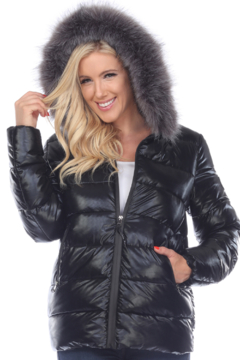 White Mark  Metallic Puffer Coat with Hoodie - Product List Image