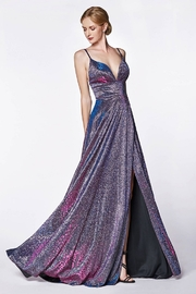 Cinderella Divine Metallic Purple Patterned Long Formal Dress - Product Mini Image