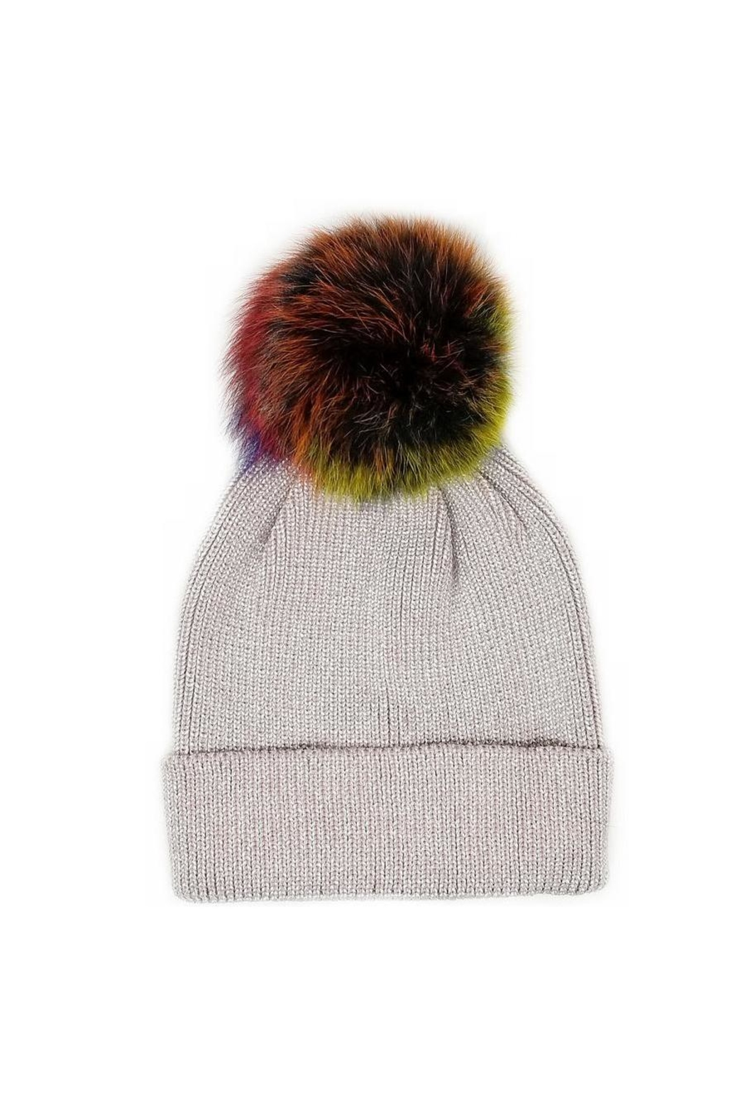 Lets Accessorize Metallic Rainbow Beanie - Front Cropped Image