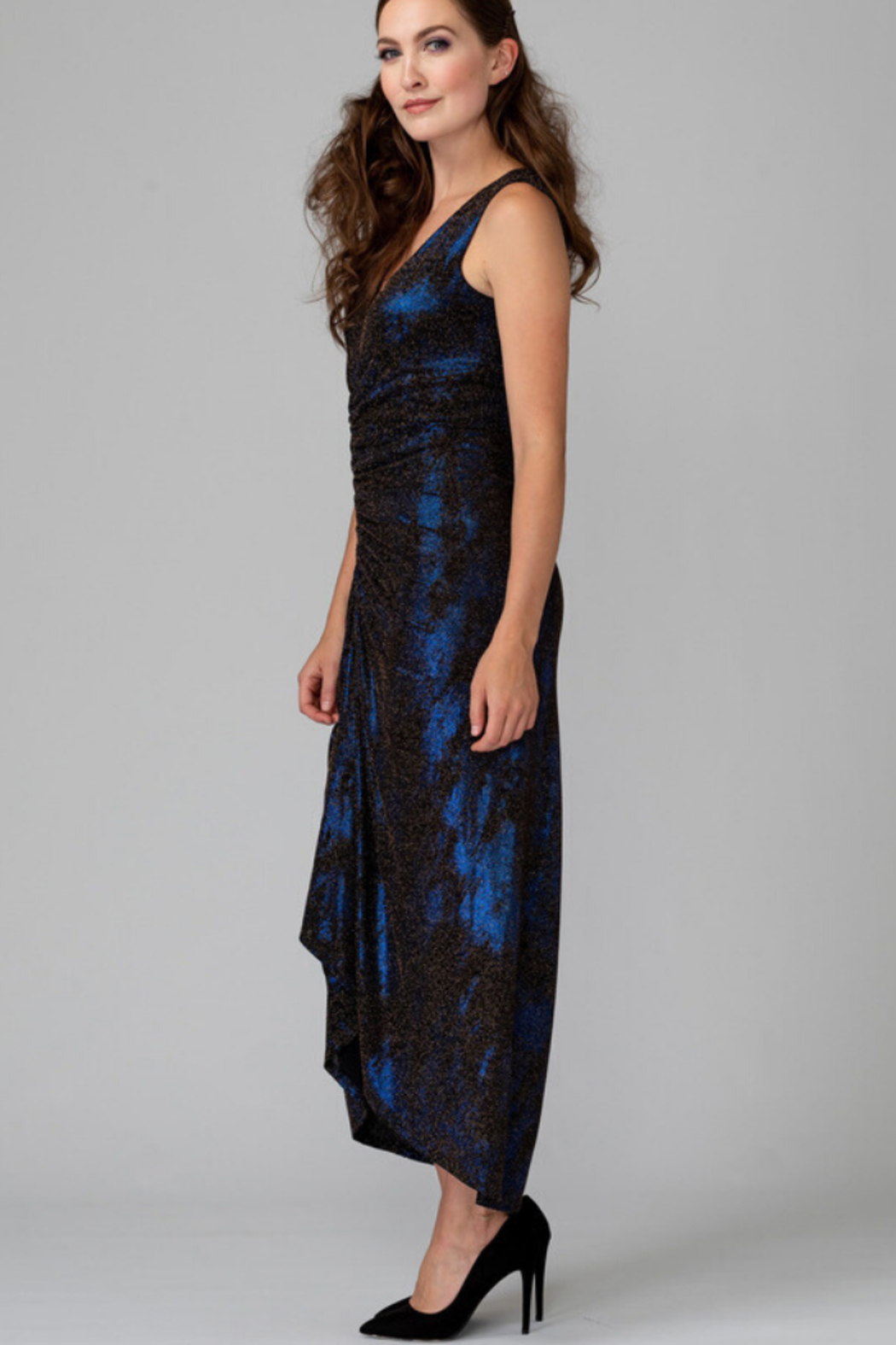 Joseph Ribkoff Metallic Ruched Dress - Front Full Image