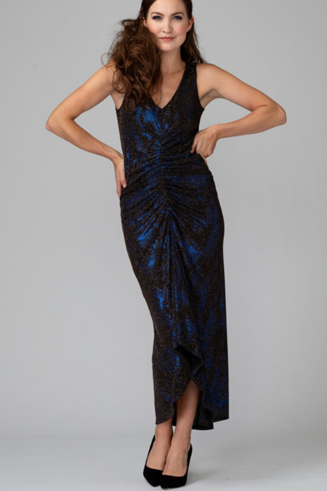 Joseph Ribkoff Metallic Ruched Dress - Front Cropped Image