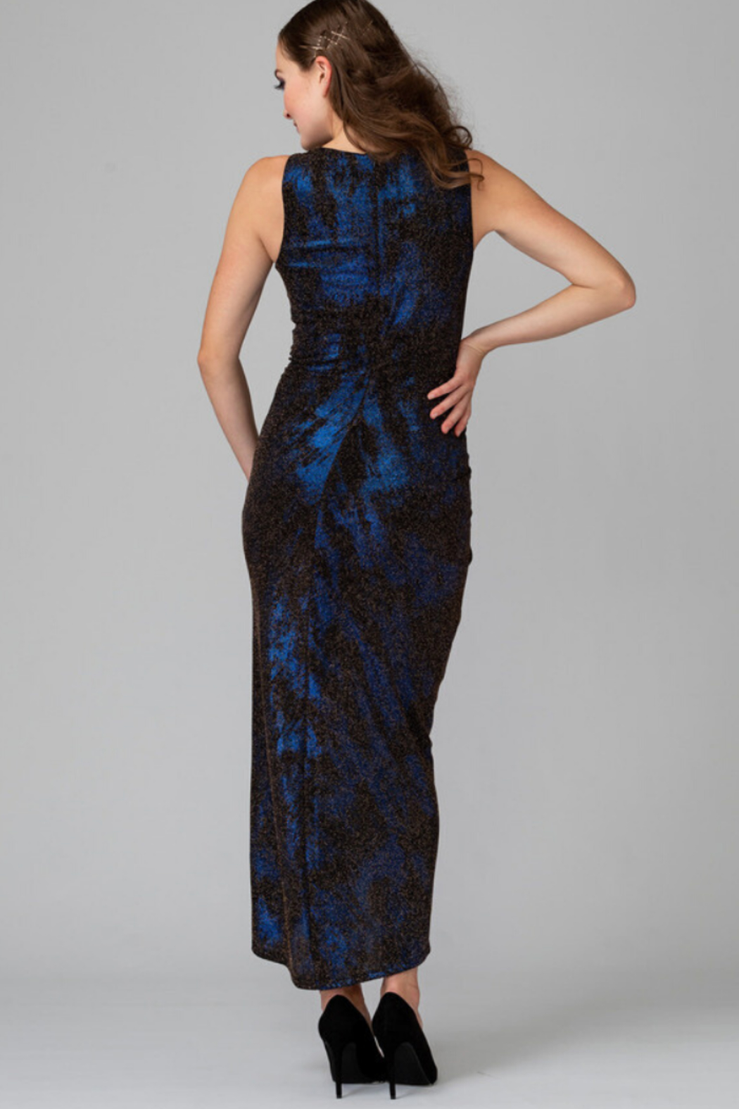 Joseph Ribkoff Metallic Ruched Dress - Side Cropped Image