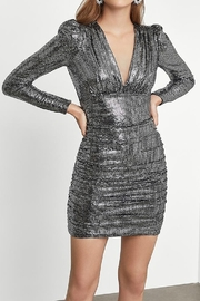 BCBG MAXAZRIA Metallic Ruched Long Sleeve Dress - Front cropped