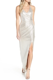 Eliza J Metallic Shimmer Ruched Halter Gown - Product Mini Image