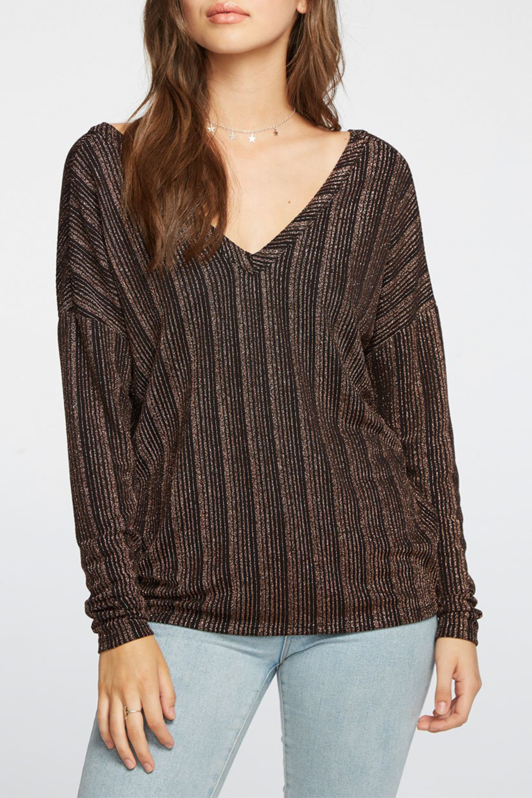 Chaser Metallic Stripe L/S Double V Top - Main Image