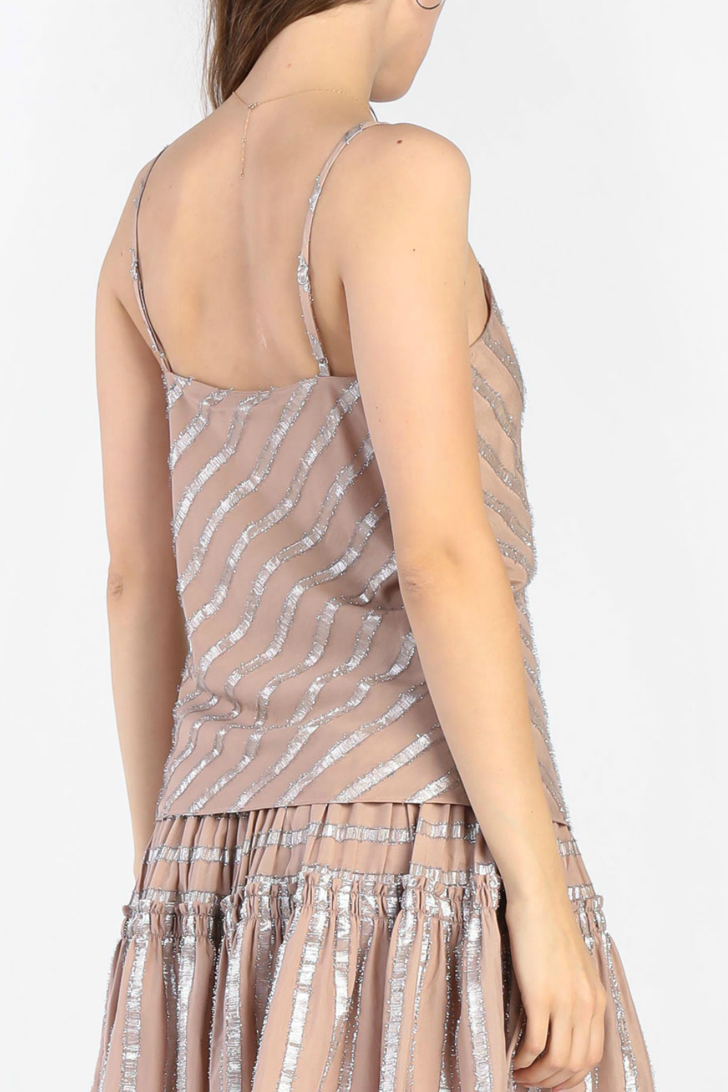 Current Air Metallic Striped Cami - Front Full Image