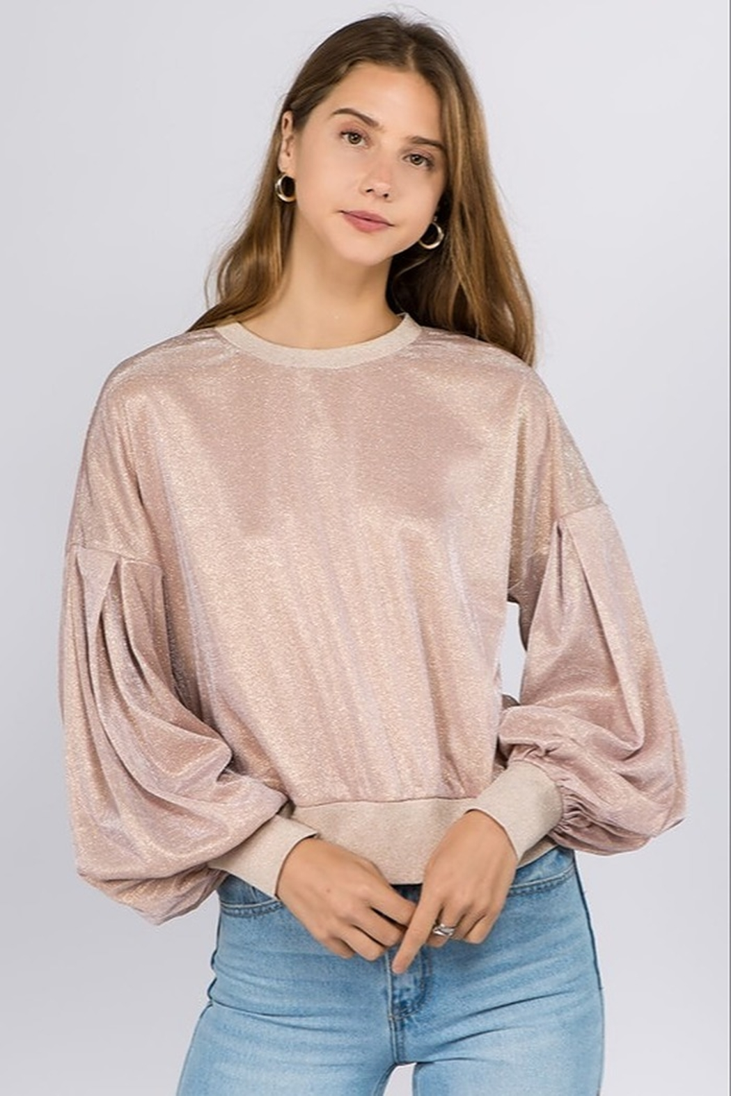 On Twelfth Metallic Sweatshirt - Front Cropped Image