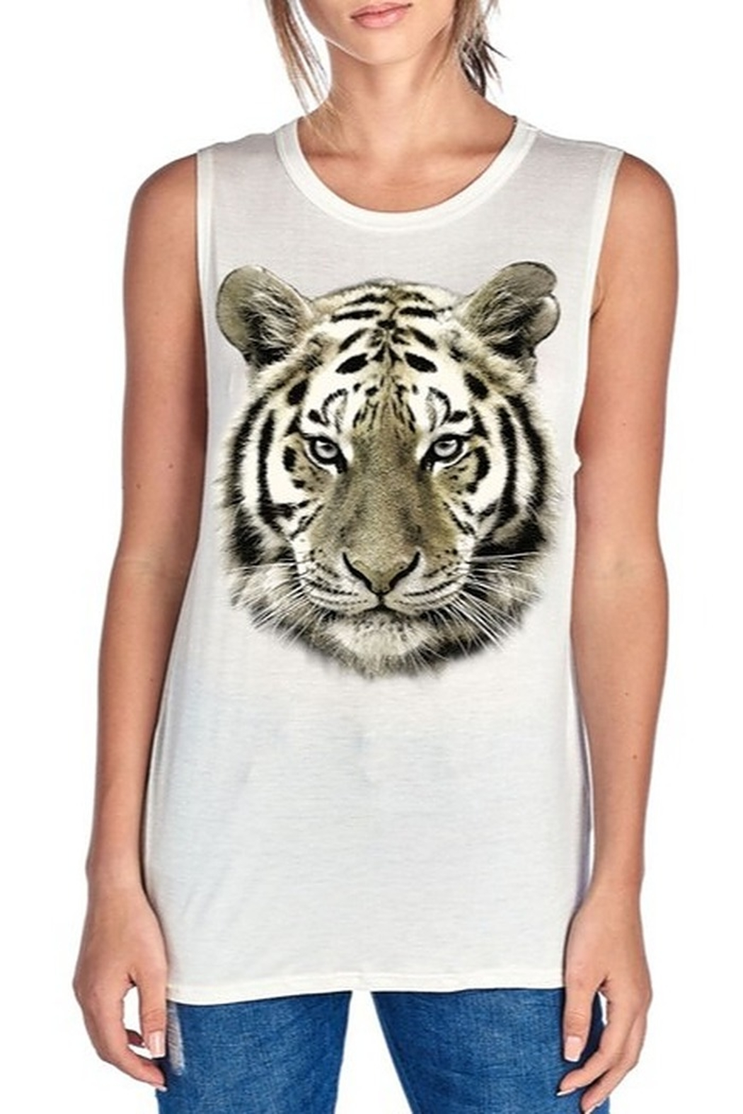 Color Bear Metallic Tiger Face Tank - Front Cropped Image