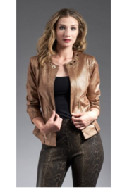 INSIGHT NYC Metallic Vegan Jacket Liq Cof Bean/Gold - Product Mini Image
