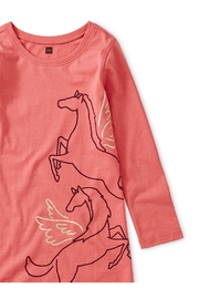 Tea Collection Metallic Wind Horse Dress - Front full body