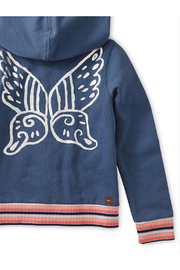 Tea Collection Metallic Winged Zip Hoodie - Back cropped