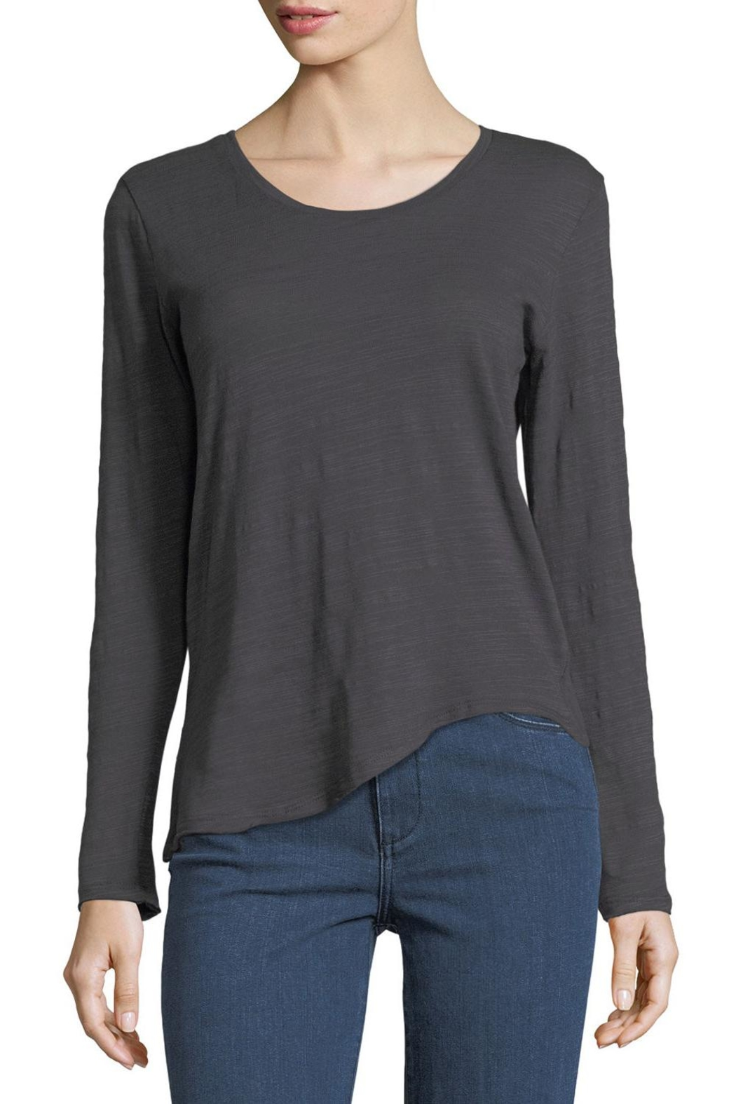 Metric Knits Asymmetric Boat-Neck Tee - Front Cropped Image