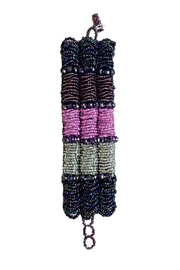 mexican collection Hand-Beaded Purple Cuff - Product Mini Image