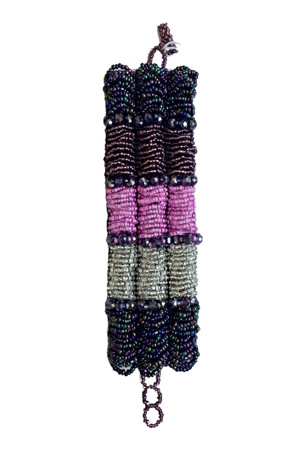 Mexican Collection Hand-Beaded Purple Cuff - Main Image