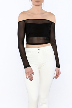 Shoptiques Product: Black Mesh Off-Shoulder Top