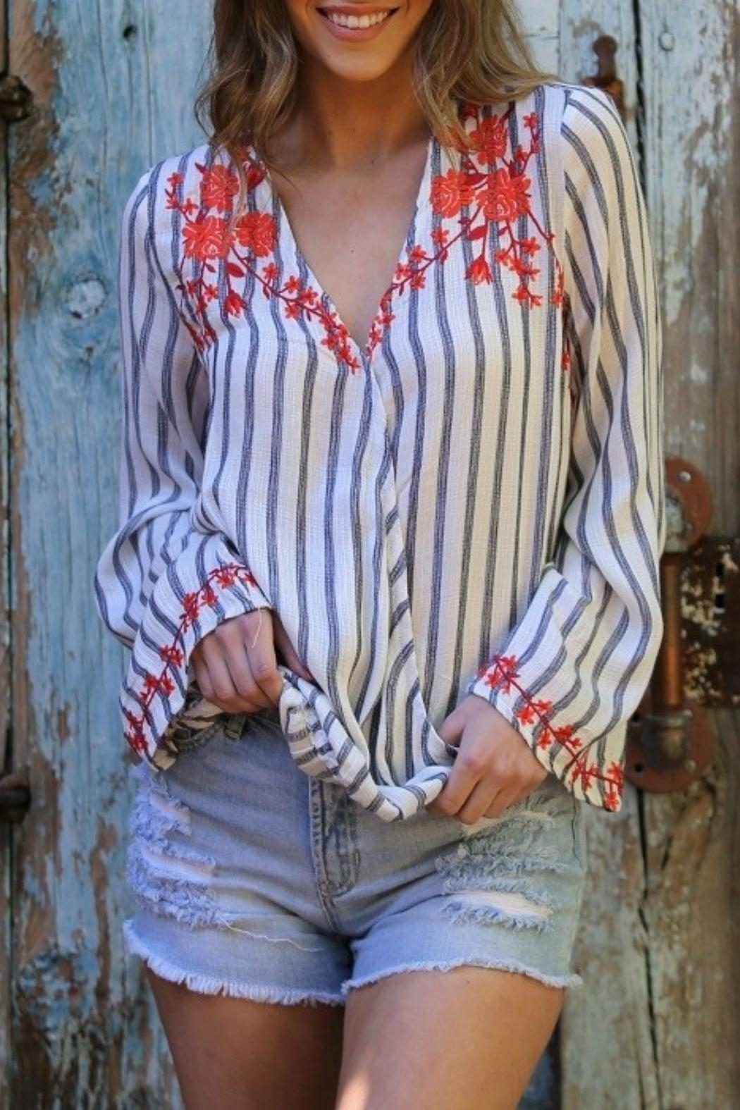 MHGS Embroidered Stripe Top - Main Image
