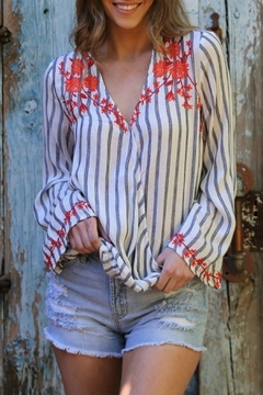 Shoptiques Product: Embroidered Stripe Top