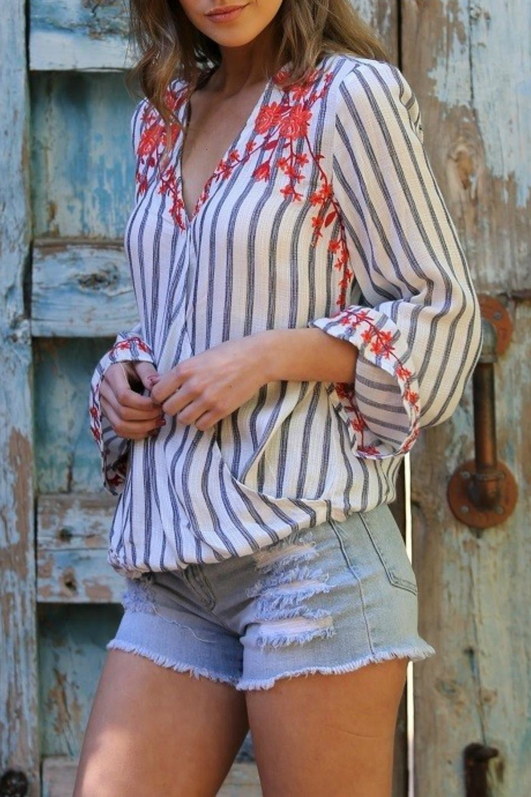 MHGS Embroidered Stripe Top - Side Cropped Image