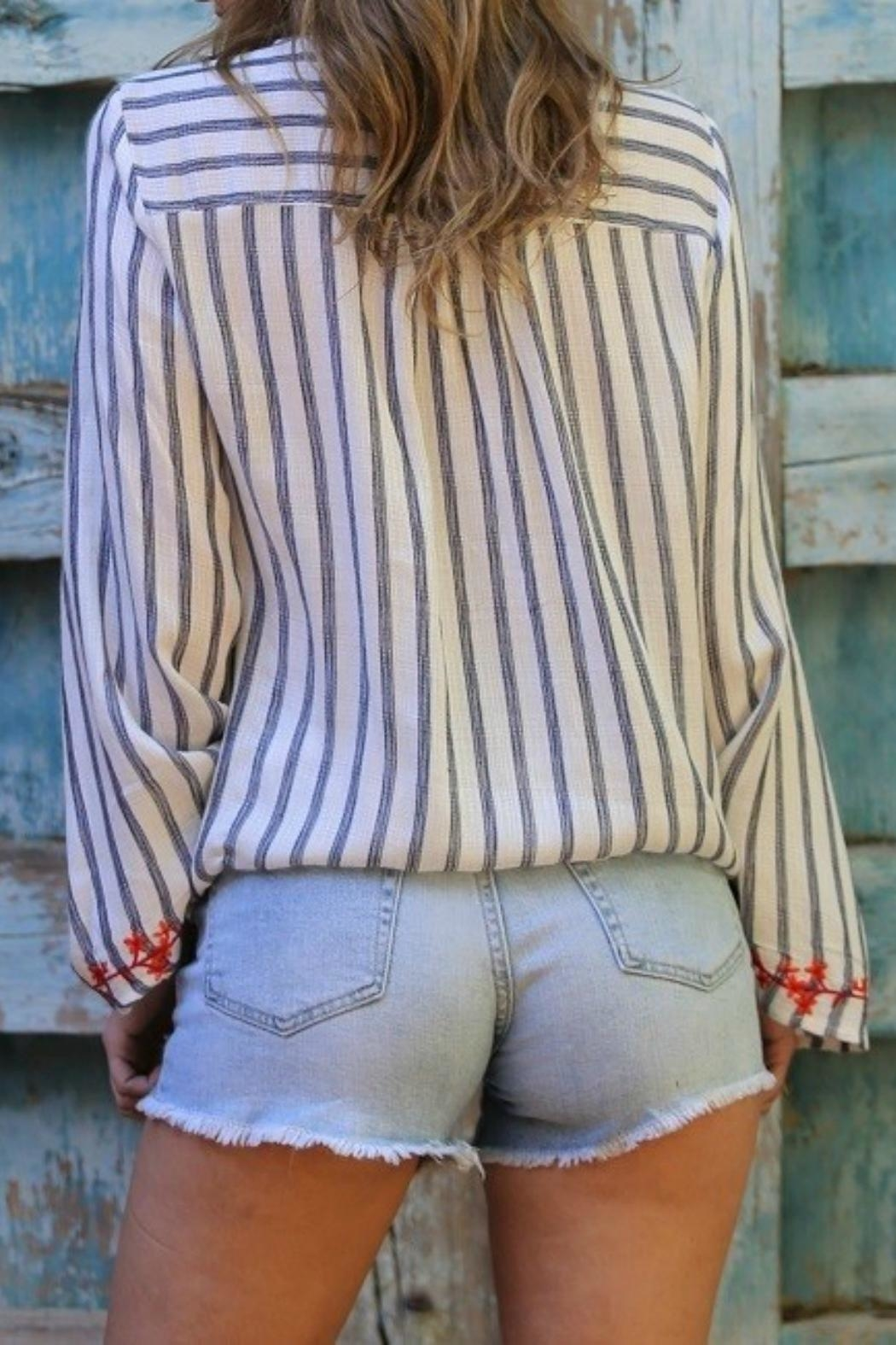 MHGS Embroidered Stripe Top - Front Full Image